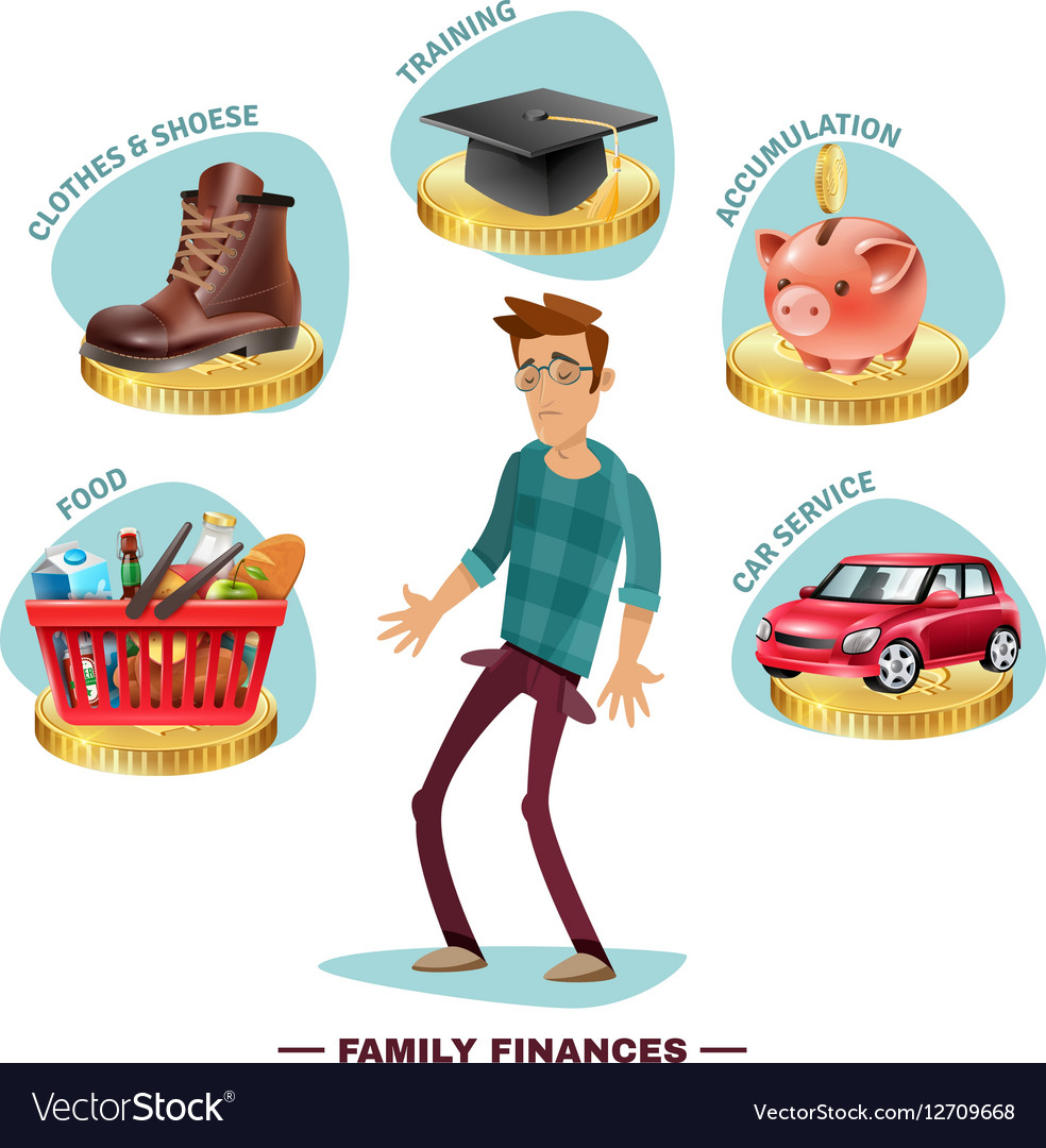 Family Budget Planning Flat Composition Poster
