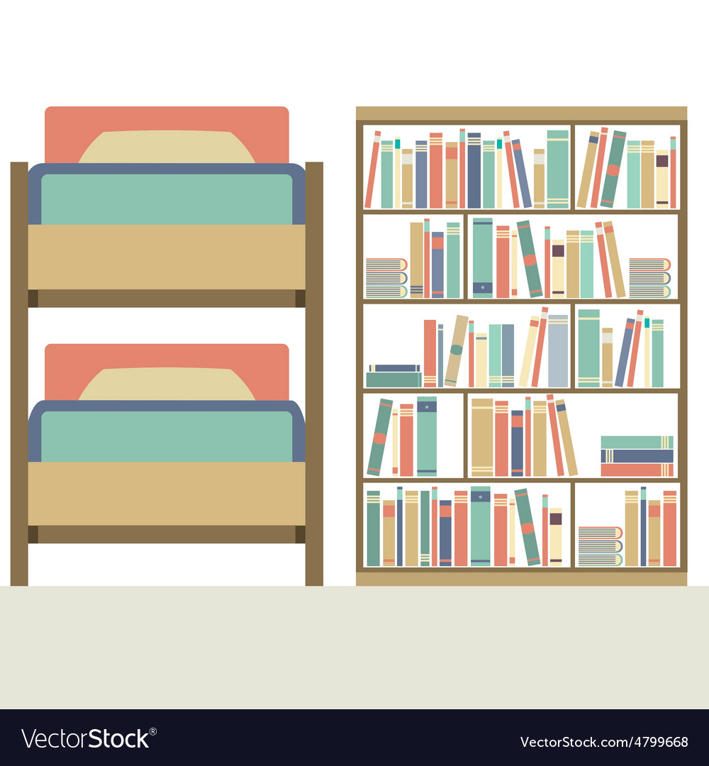 Flat Design Bunk Bed With Big Bookcase Royalty Free Vector