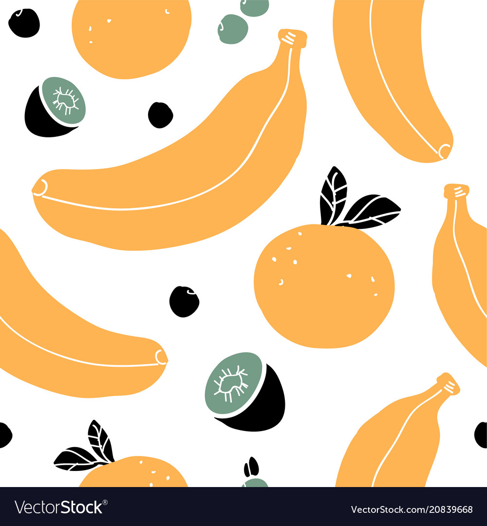 Hand drawn seamless pattern with bananas oranges