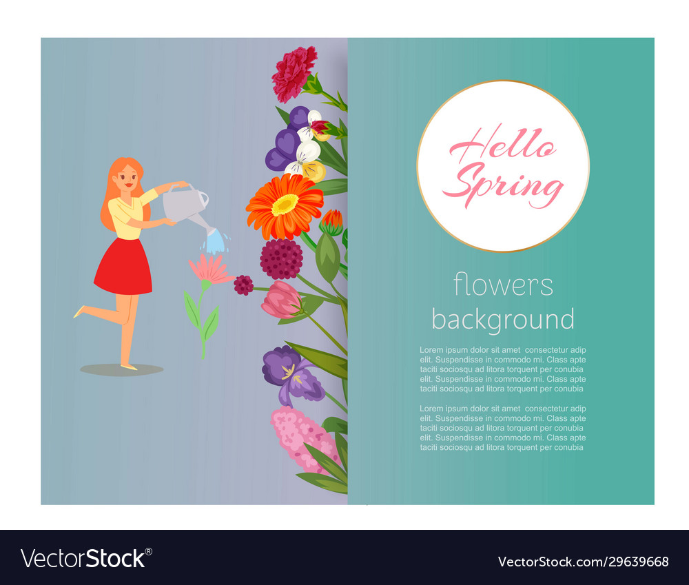 Hello spring girl watering flowers floral banner
