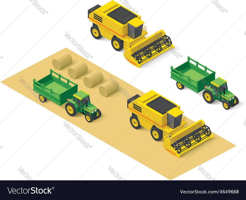 Isometric farm vehicles set