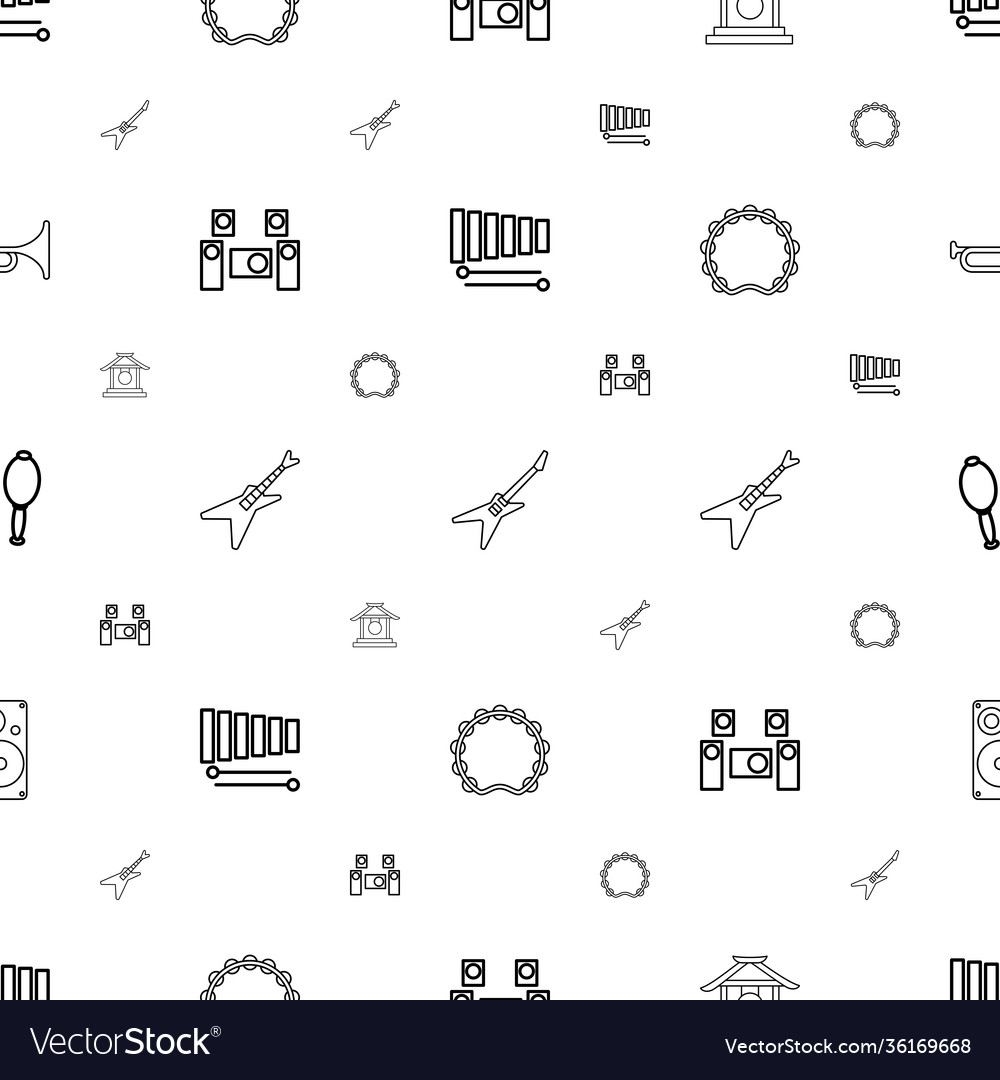 Musical icons pattern seamless white background