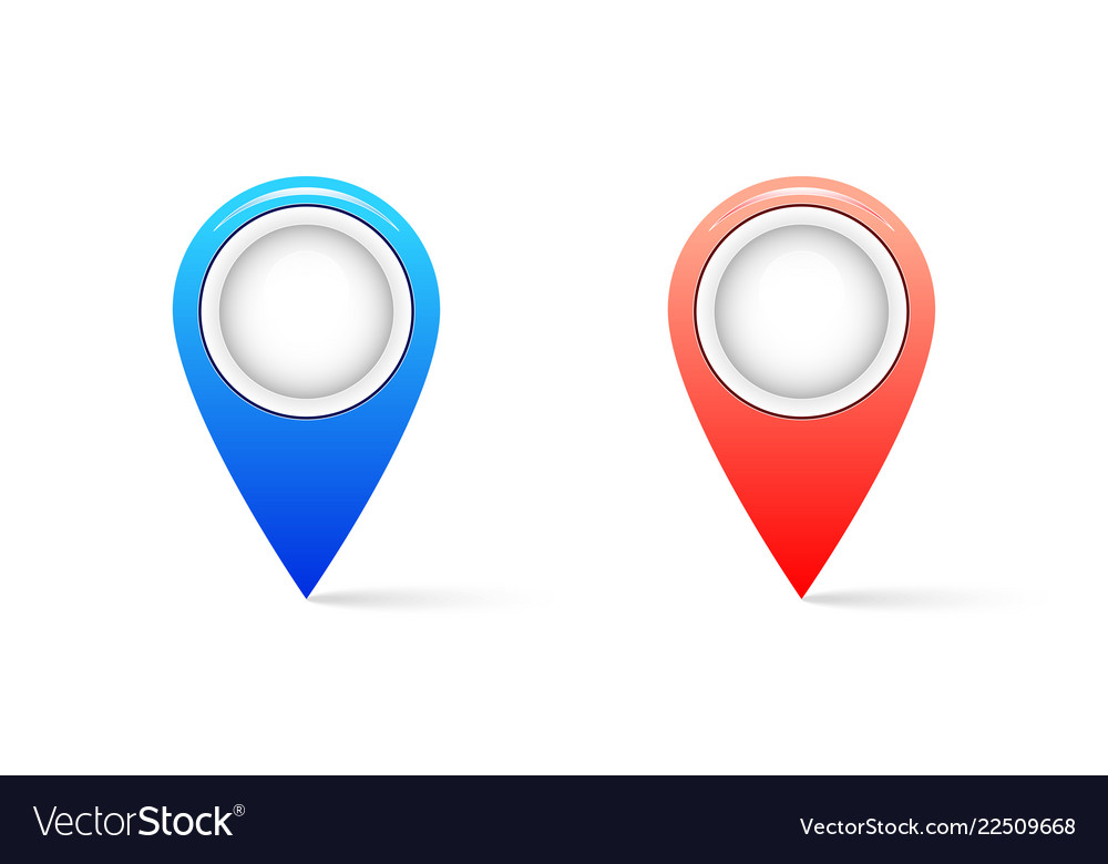Realistic map pin icon with shadow pin icon