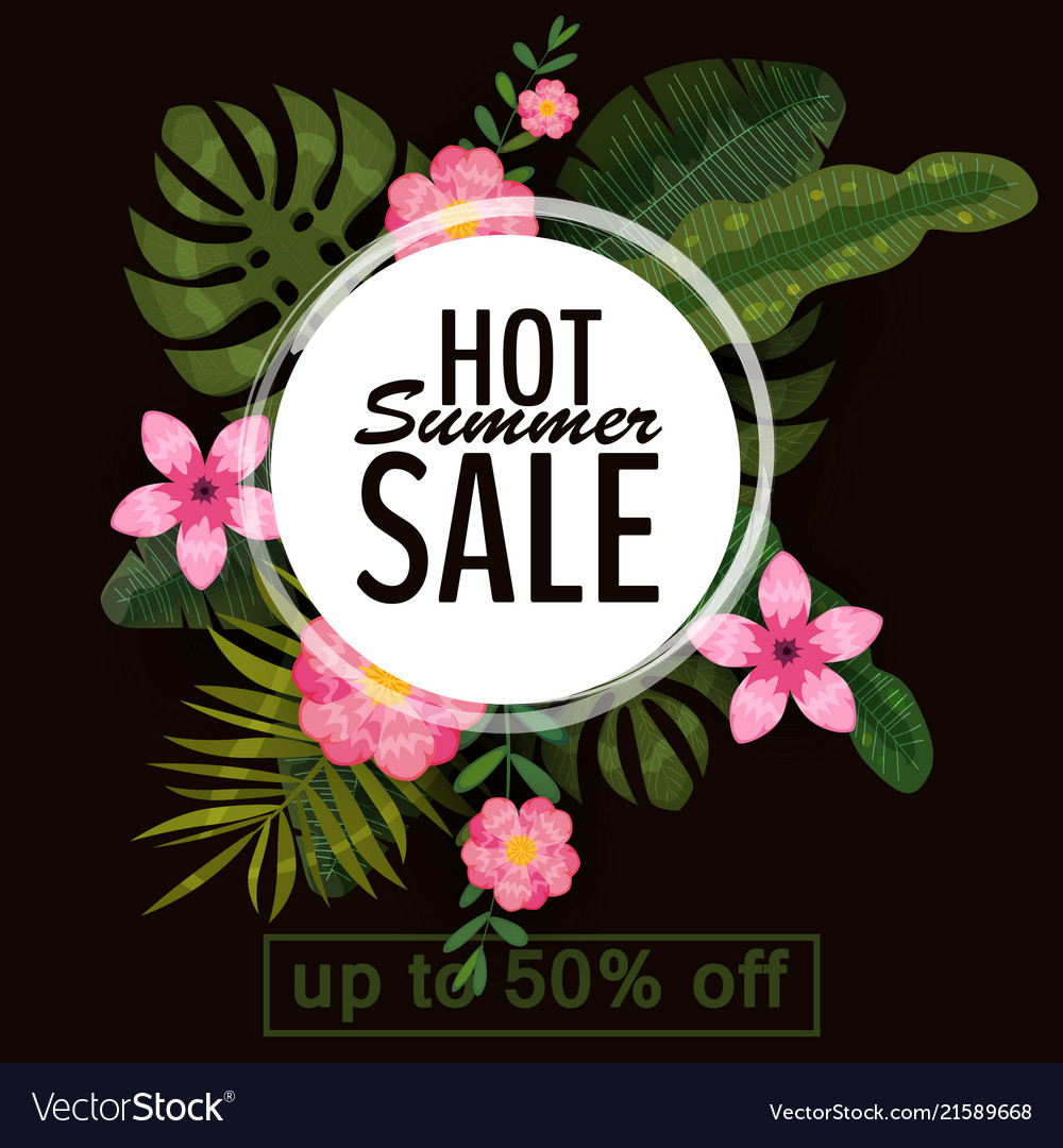 Sale summer banner poster with palm leaves