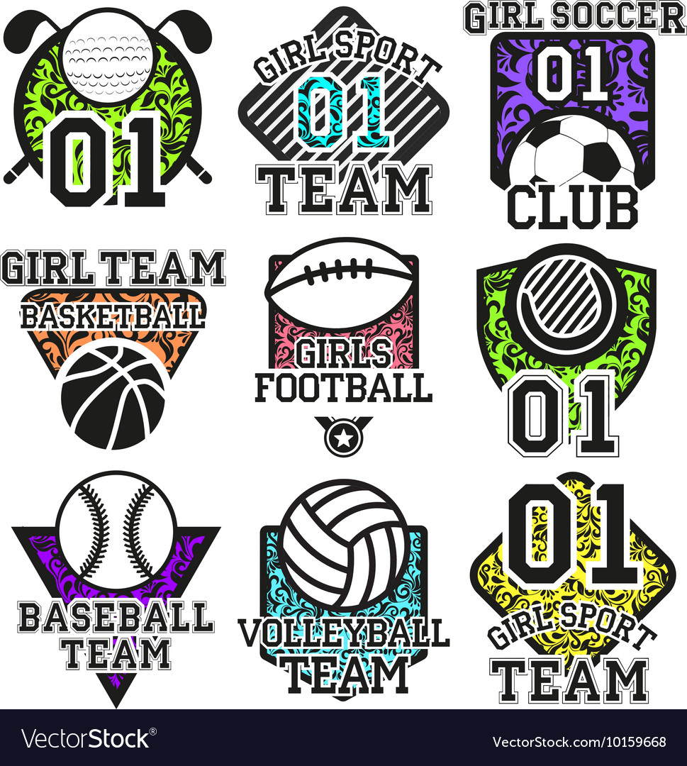 Set of sport colorful labels Design
