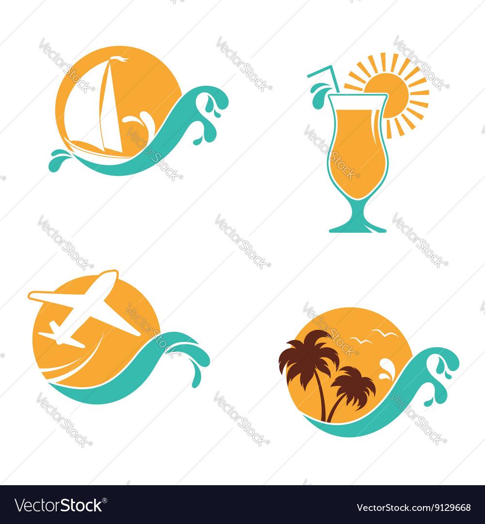 Summertime emblems set