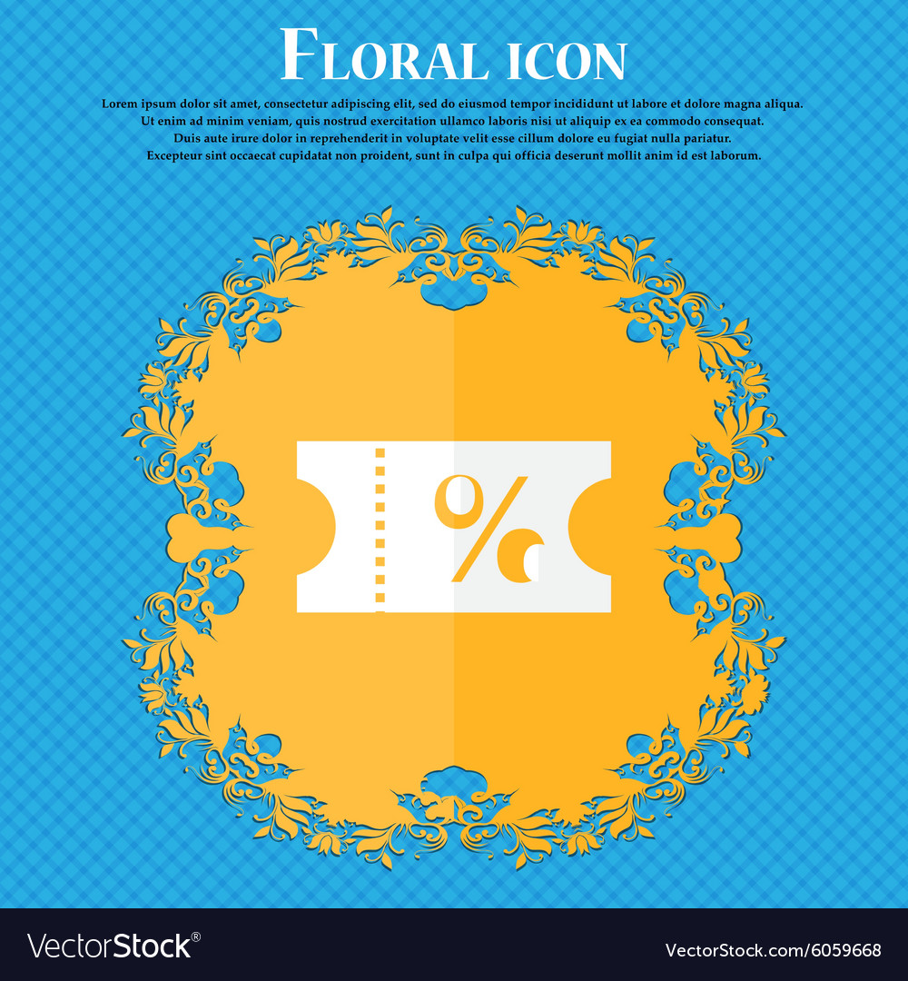 Ticket discount icon sign Floral flat design on a