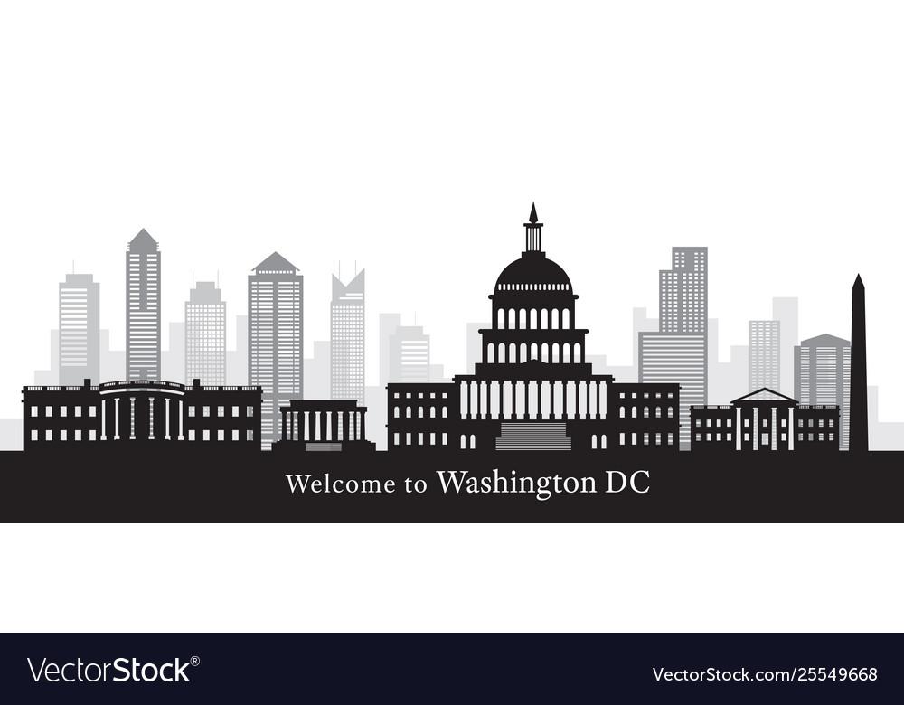 Washington dc landmarks in black and white
