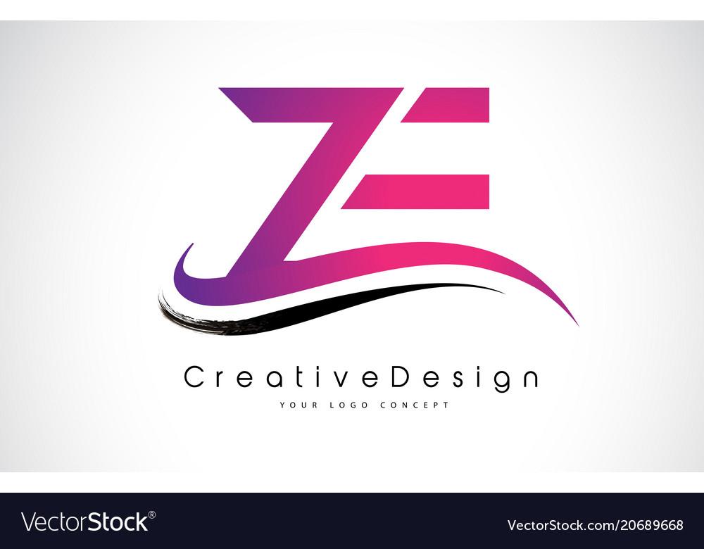 Ze Z E Letter Logo Design Creative Icon Modern