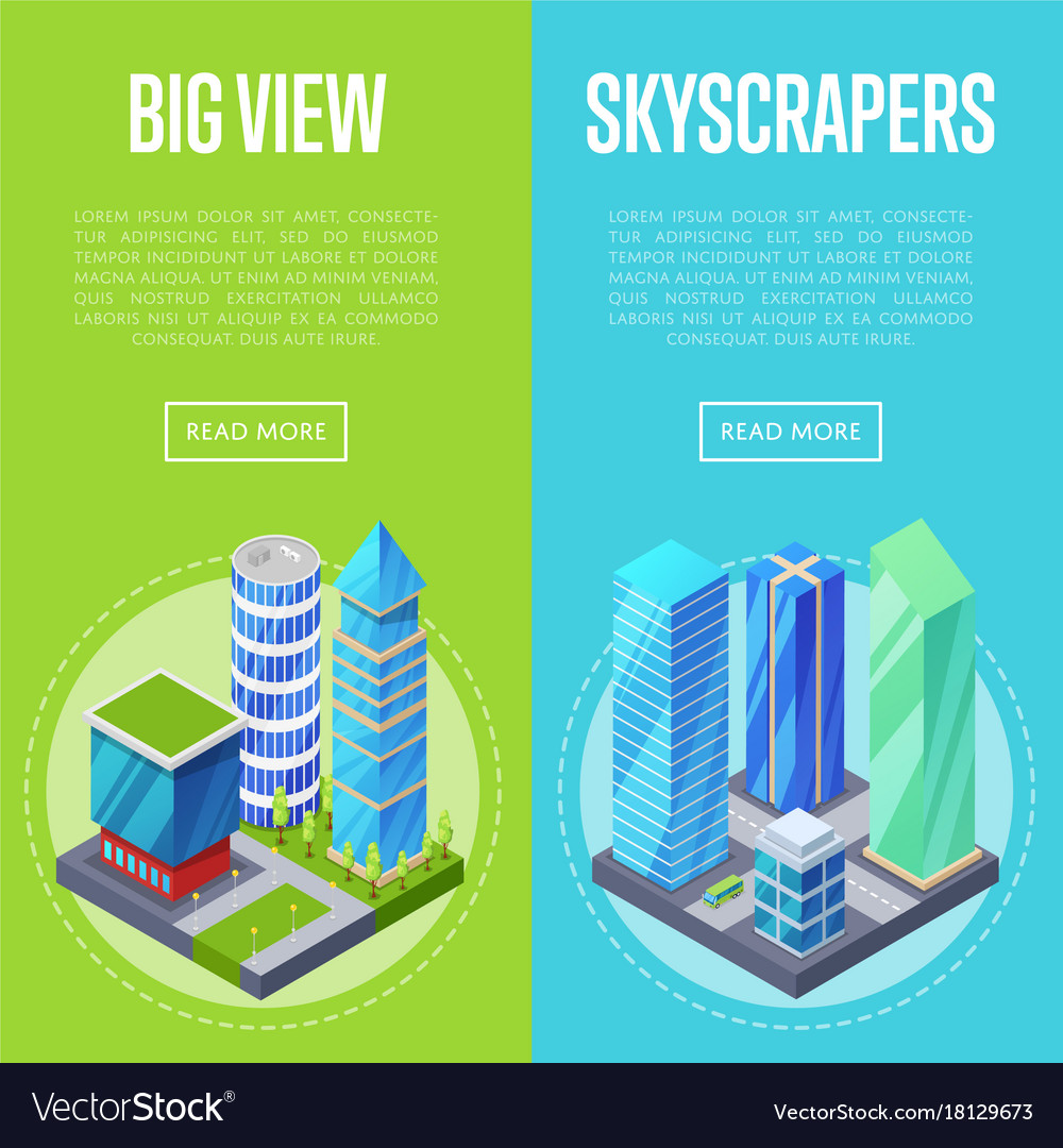 Big skyscrapers architecture banners set