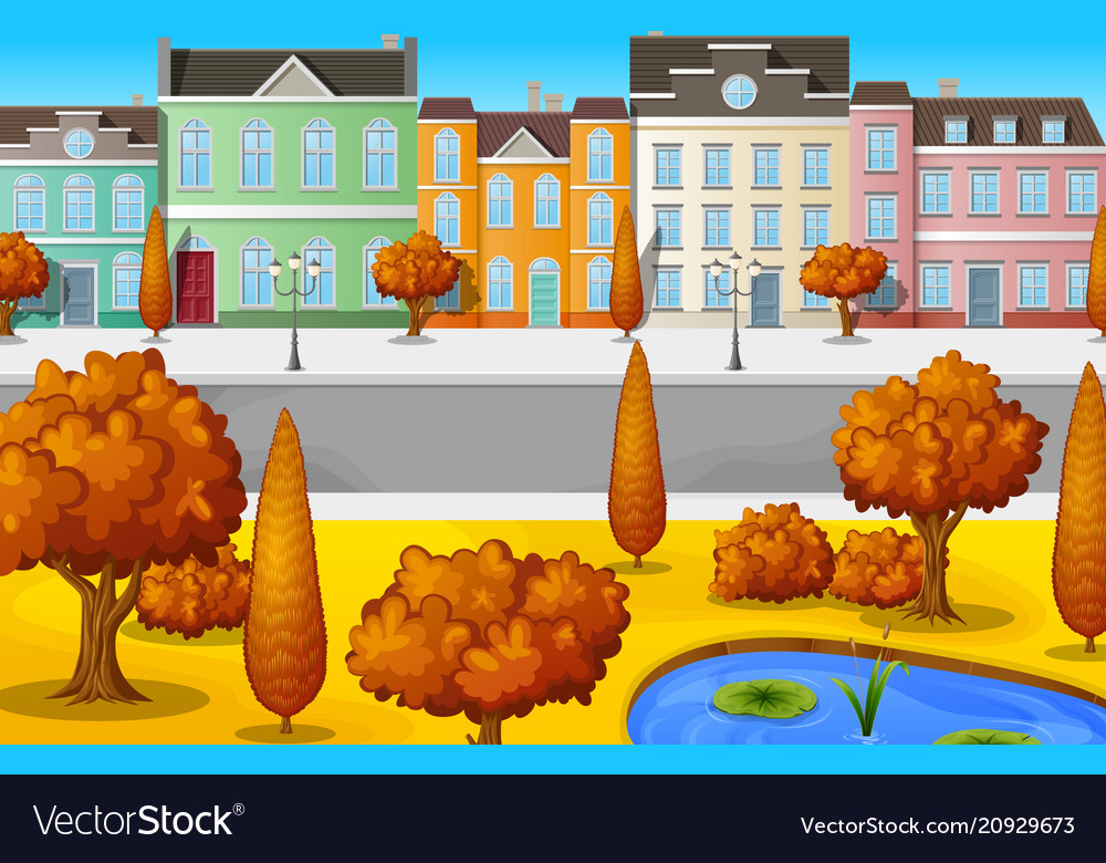 Cityscape with buildings and trees autumn season