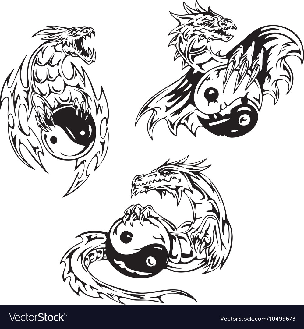 Dragon Tattoo Yin Yang Vector Images 30