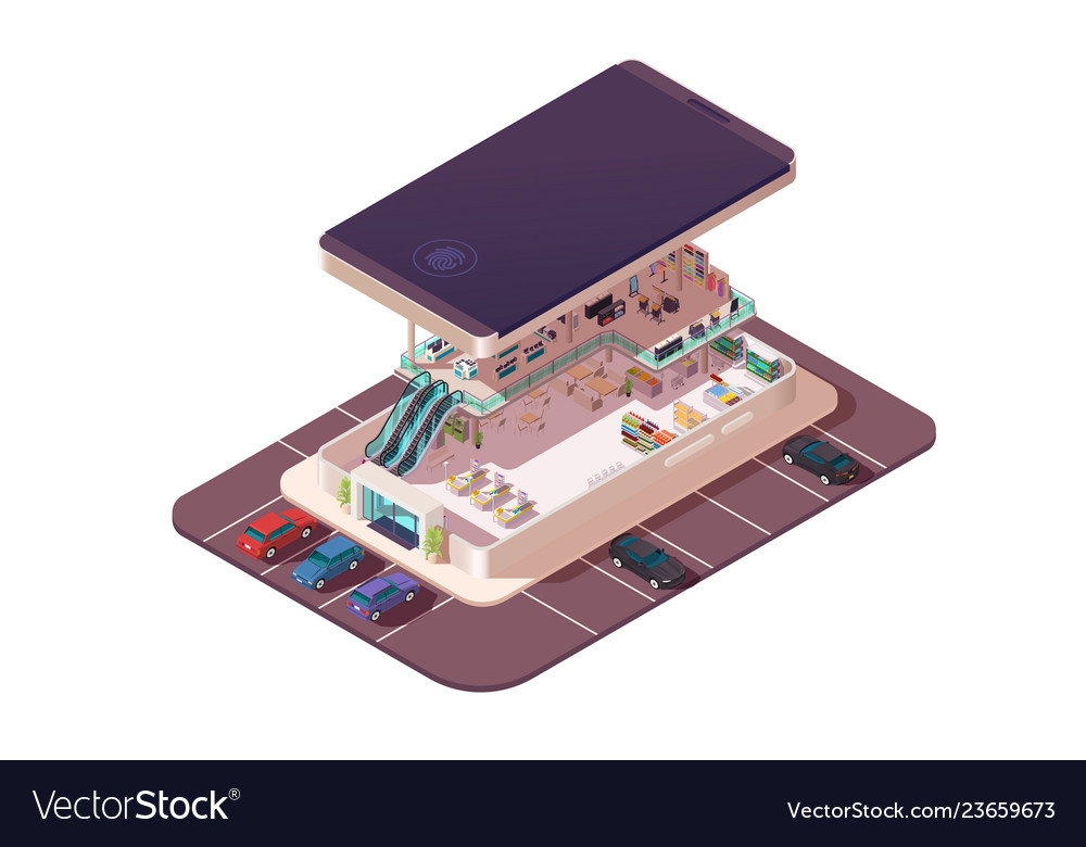 Isometric 3d shopping center assembly in
