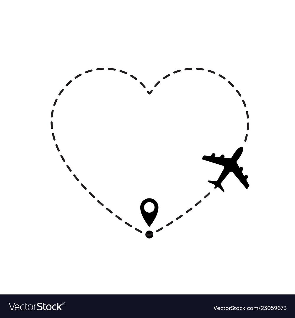 Love travel route airplane line path icon air