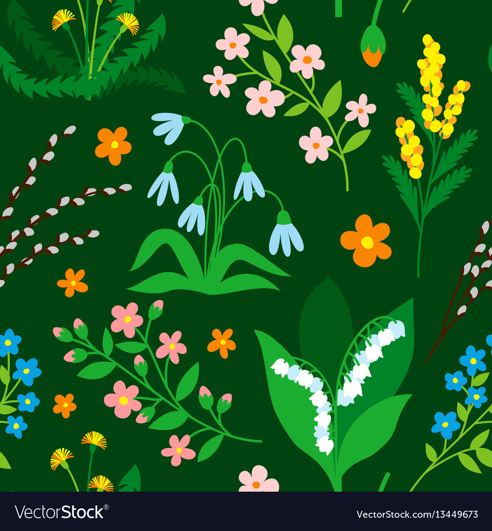 Nature flower wreath seamless pattern