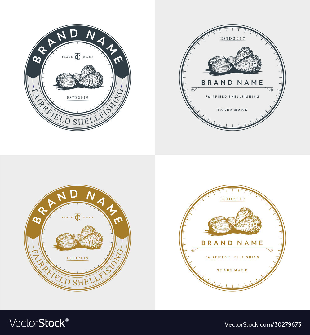 Oyster and shell badge logo