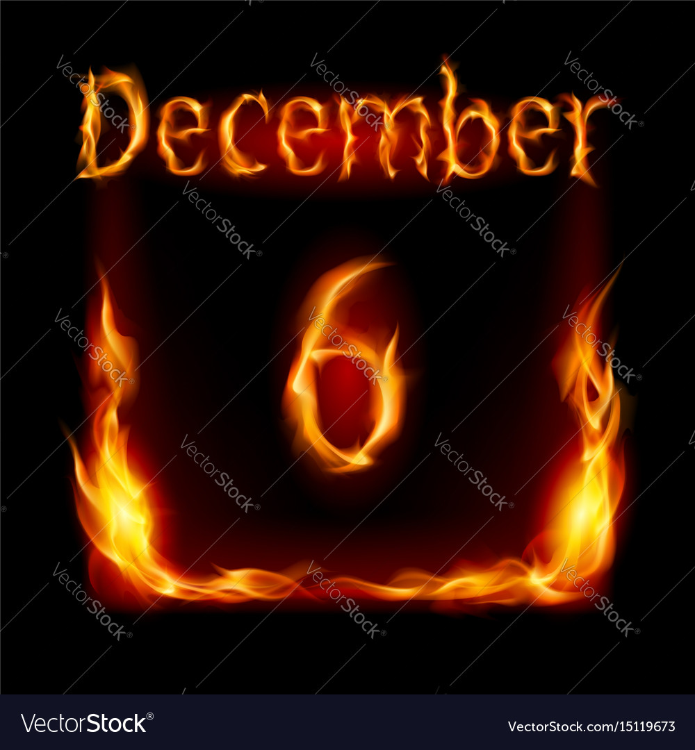 Sixth december in calendar of fire icon on black vector image