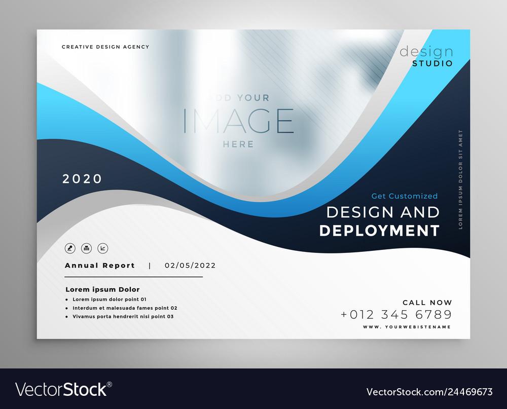 Stylish blue wavy business presentation banner