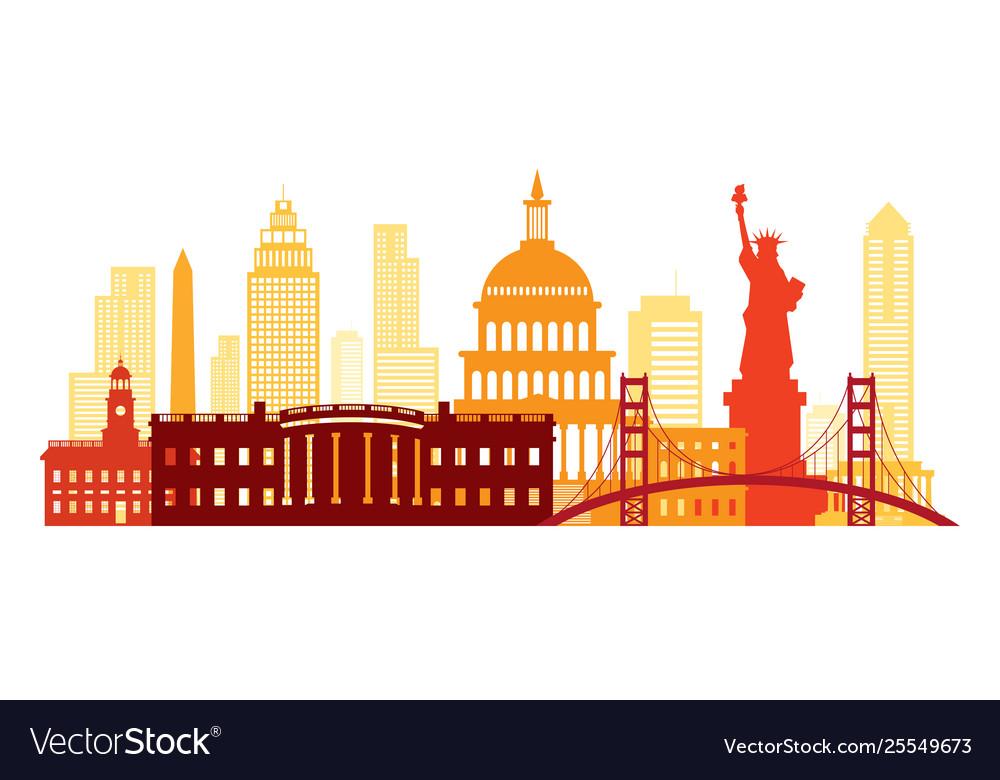 United states america usa landmarks skyline