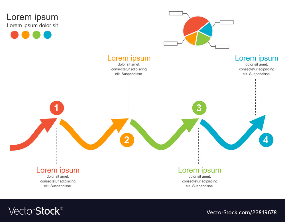 4 steps arrow wave chart diagrambusiness concept