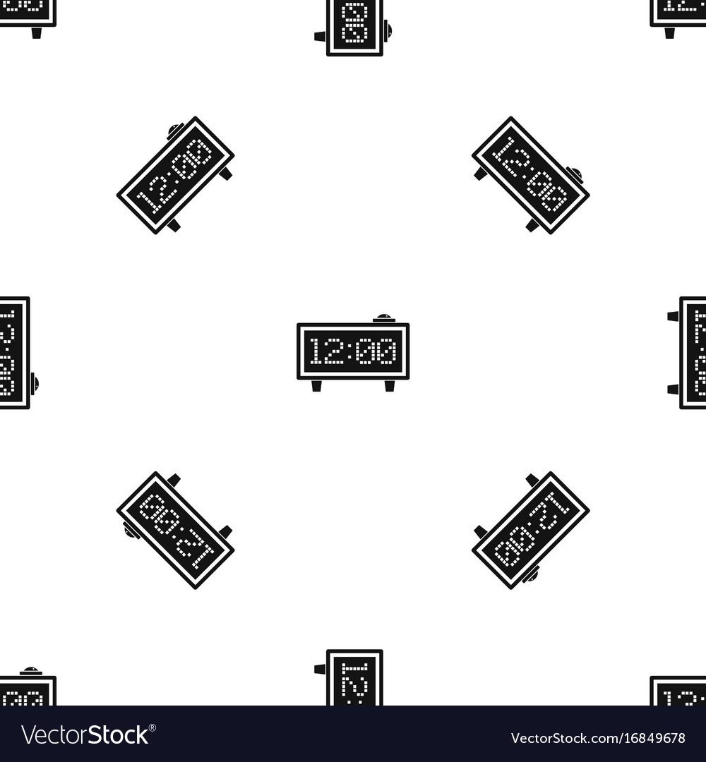 Alarm clock pattern seamless black
