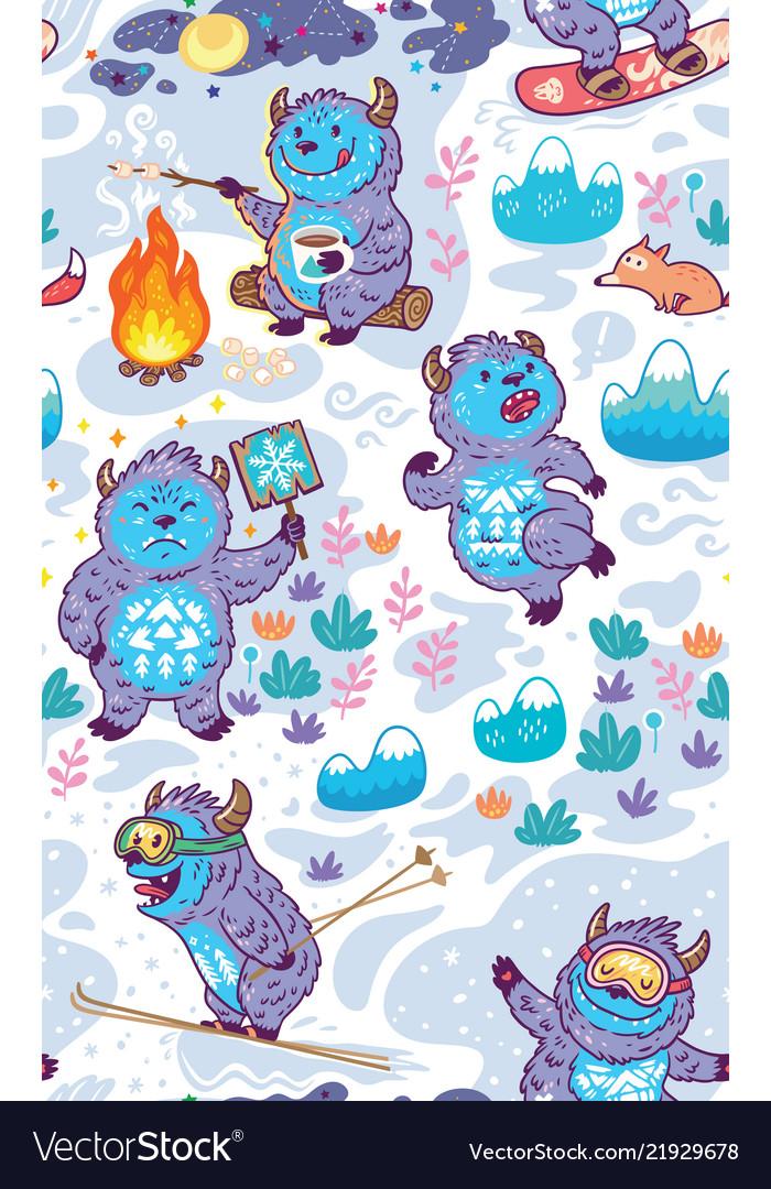 Cartoon yetis seamless pattern wallpaper