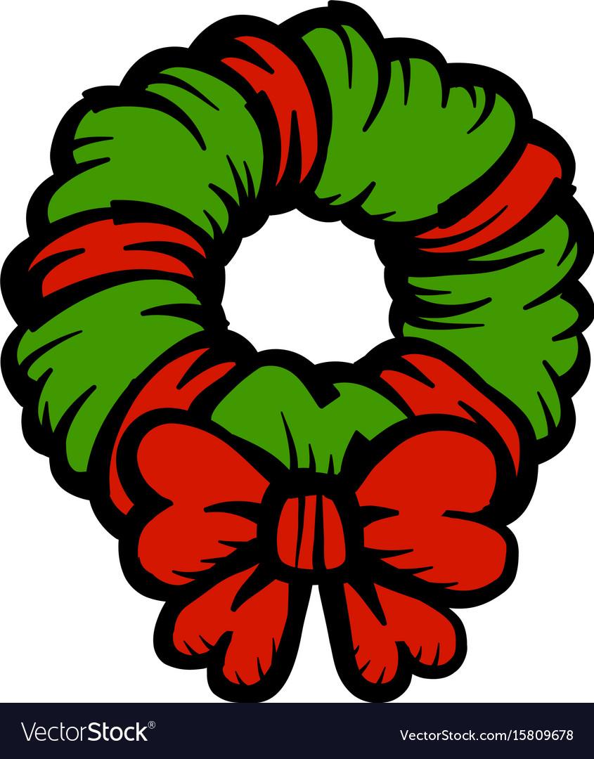 Christmas festive holiday wreath bow icon