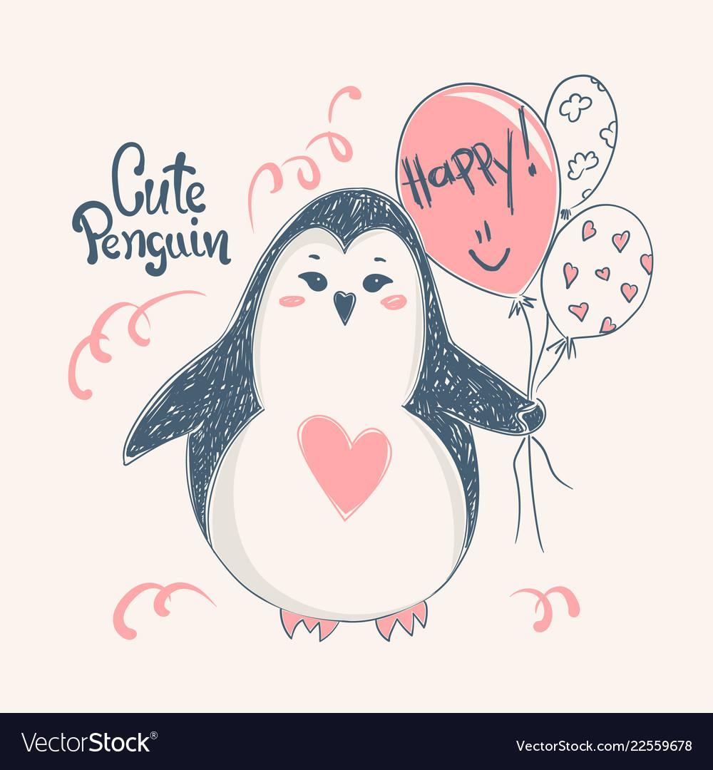 Cute penguin print design for kid t-shirtsdress