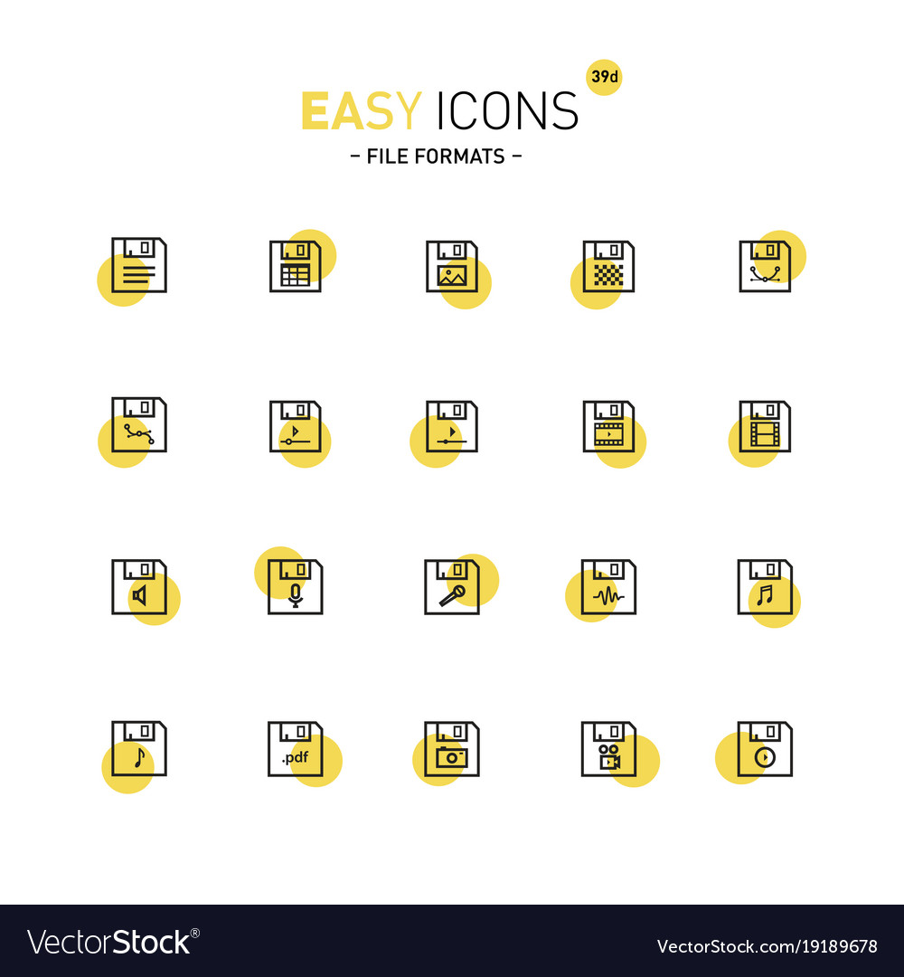 easy icons 39d file formats royalty free vector image