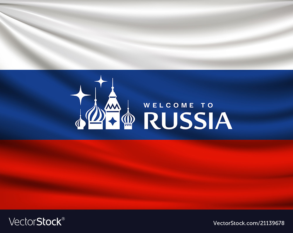 Flag of russia fabric design background