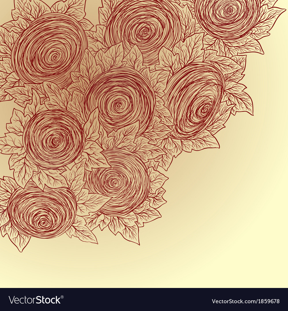 Floral decorative background Sketch style vector image