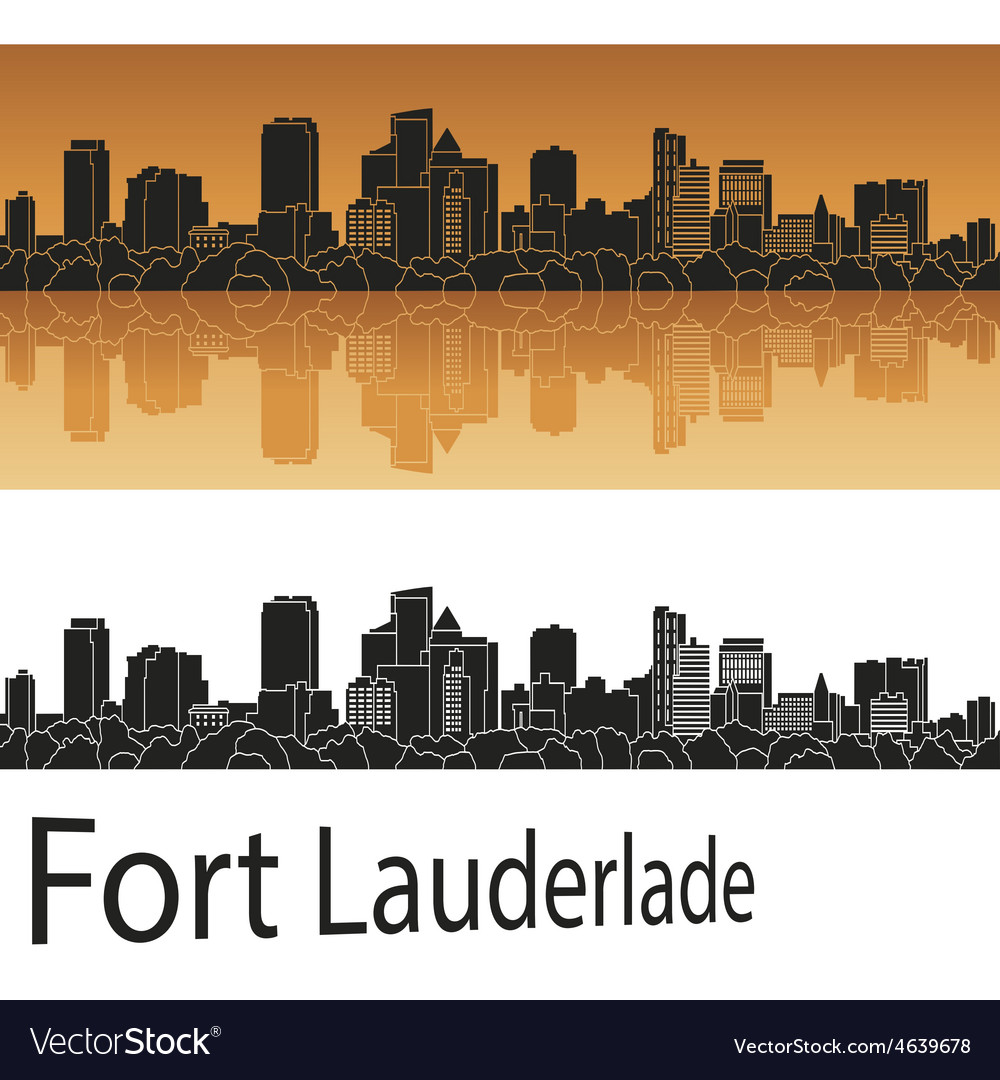 Fort Lauderlade skyline in orange