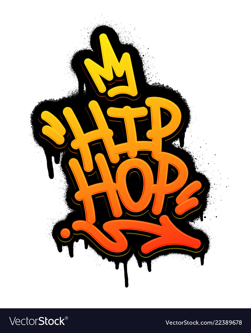 Hip hop tag graffiti style label lettering