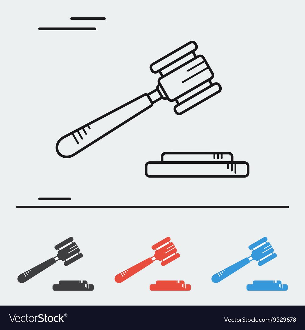 Line icon court hammer