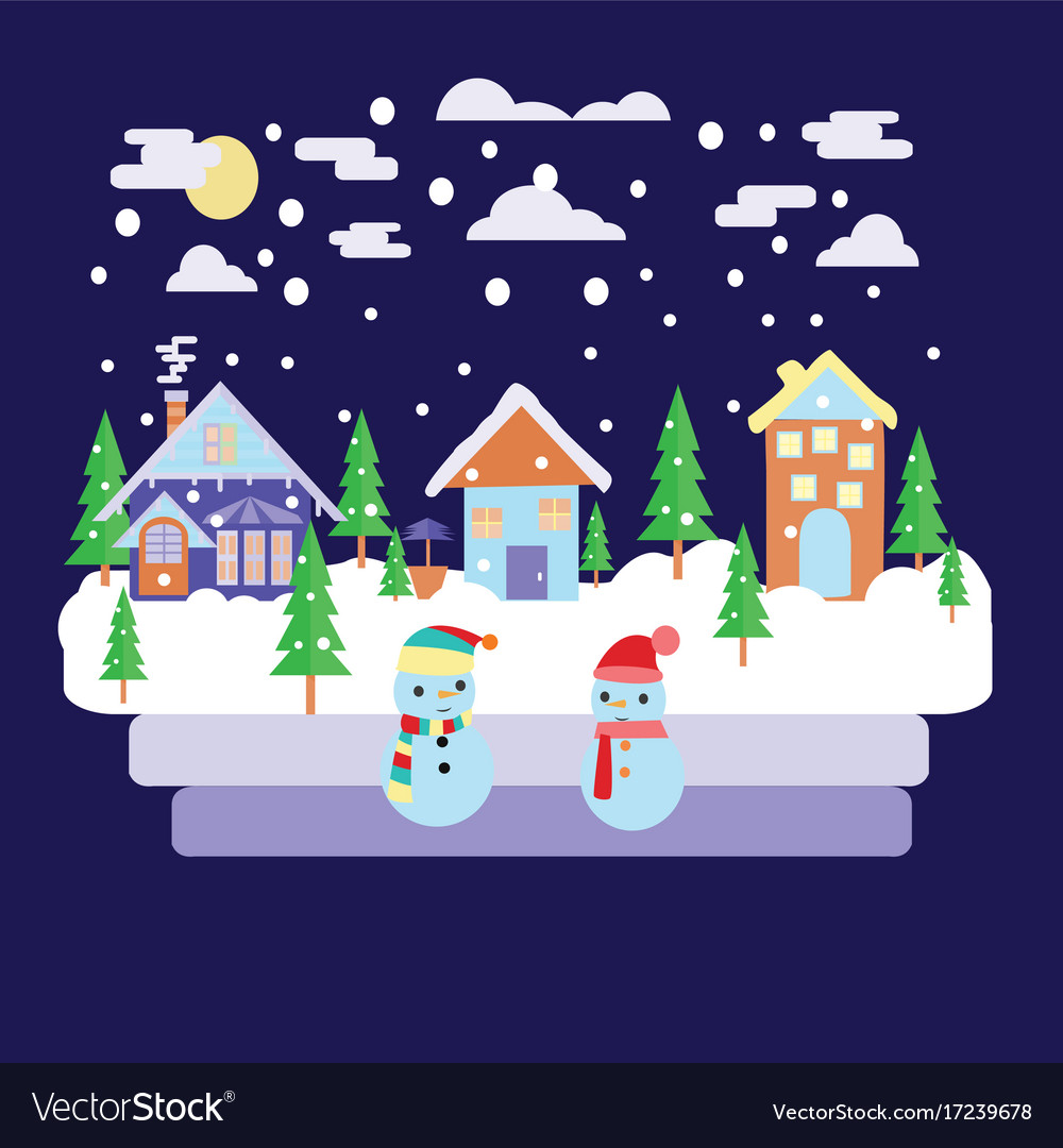 Merry christmas greeting card design with winter
