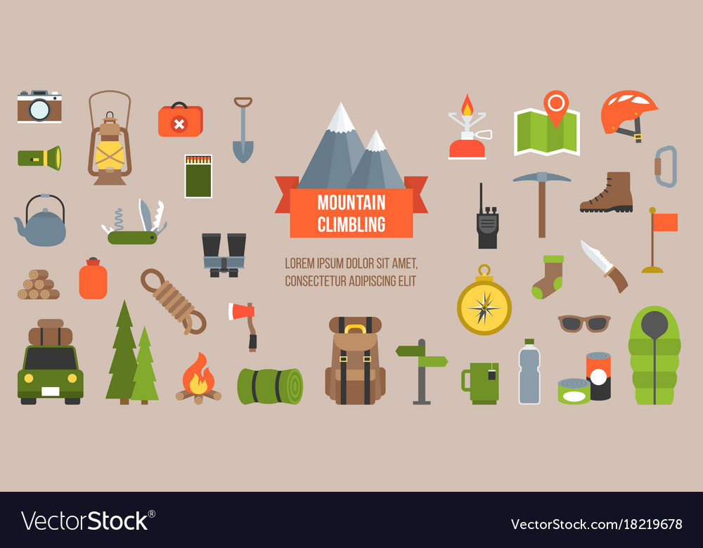 Mountain climbing equipments pictogram