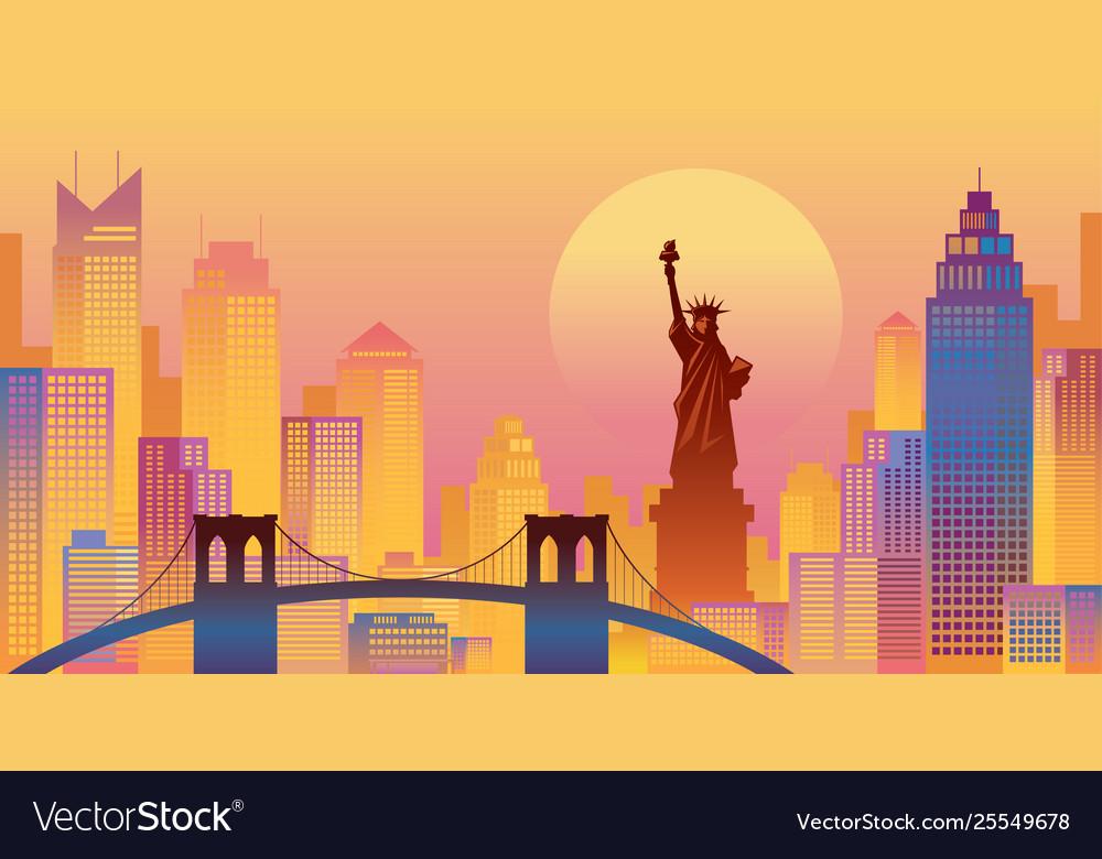New york colourful background urban skyline