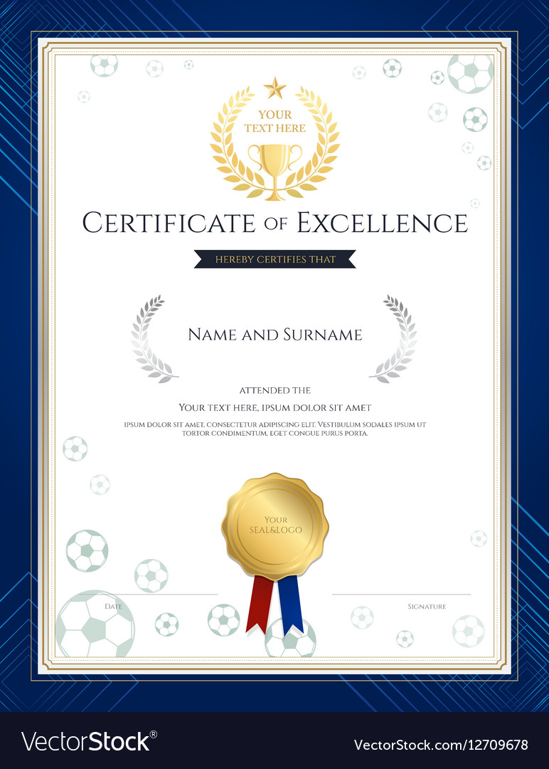portrait certificate of excellence template vector image
