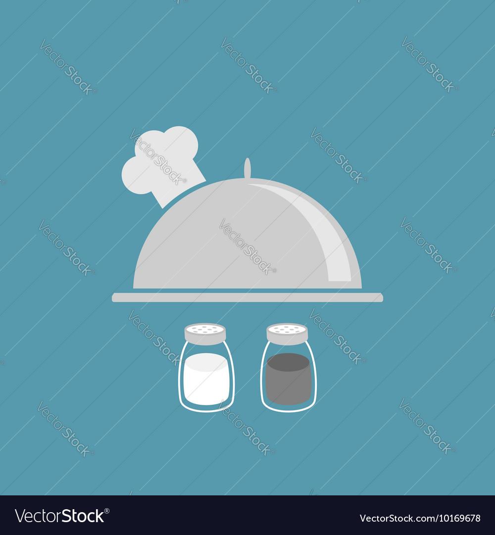 Silver platter cloche chef hat Salt pepper shaker vector image