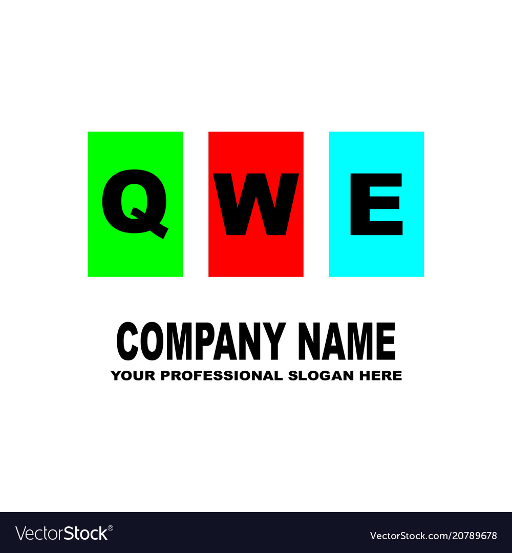 simple logo the three letters qwe are located on vector image