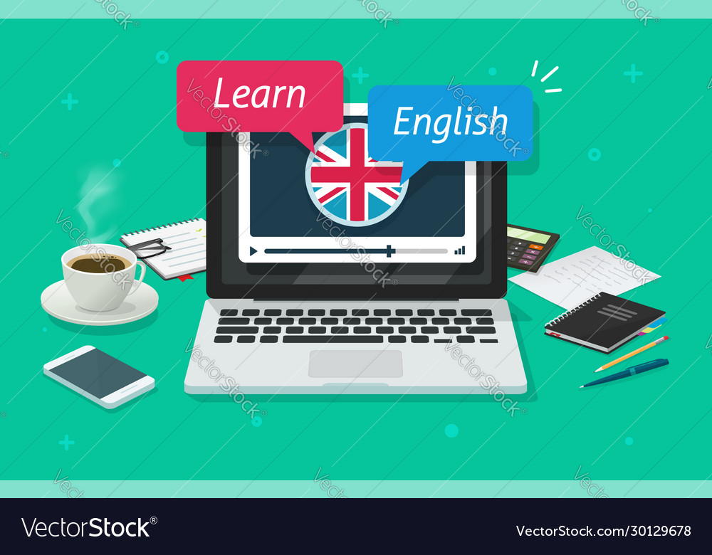 Study english online on laptop computer or