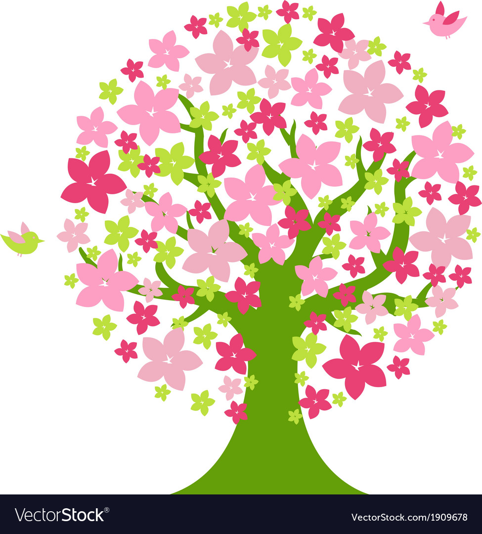 Tree With Color Flowers Royalty Free Vector Image
