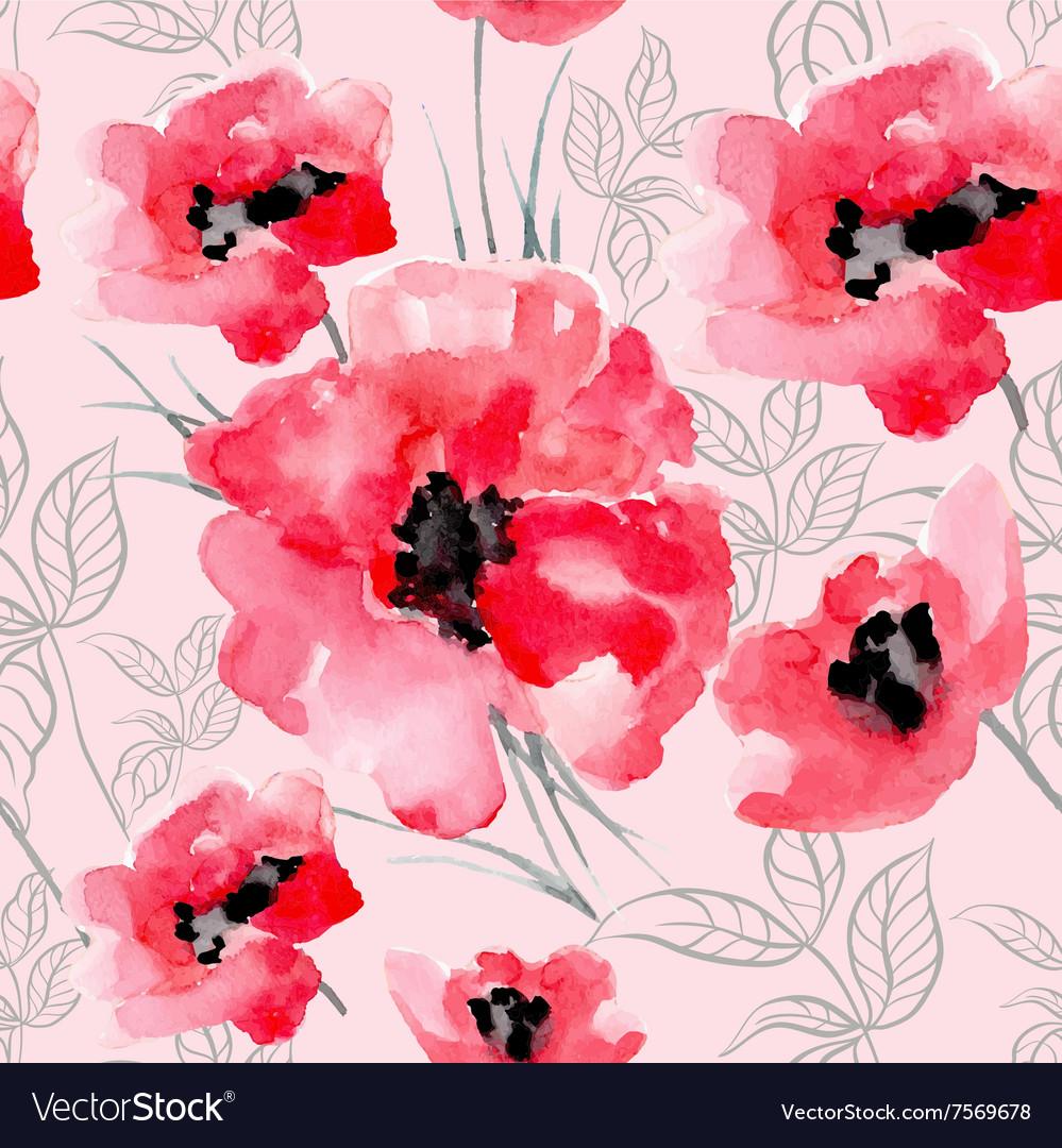 Watercolor flowers red poppy seamless pattern
