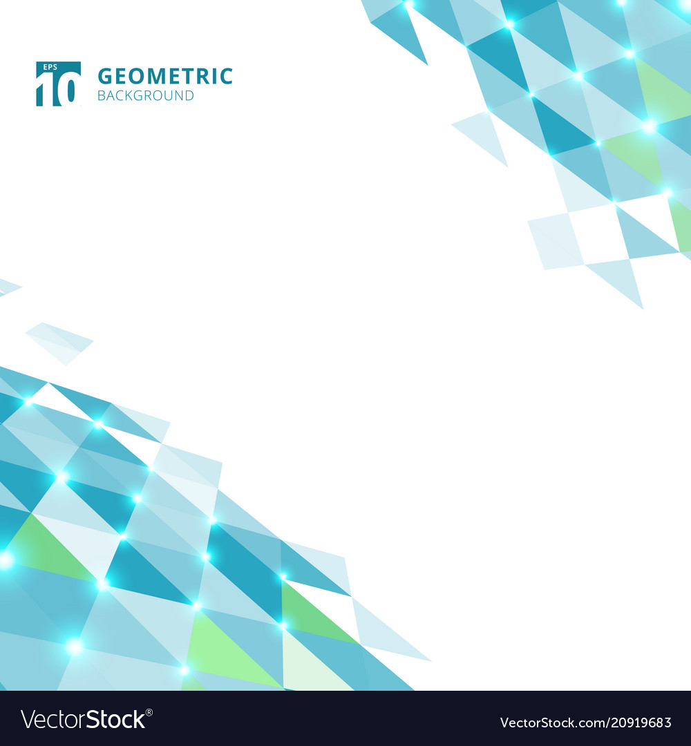 Abstract blue triangles geometric perspective on