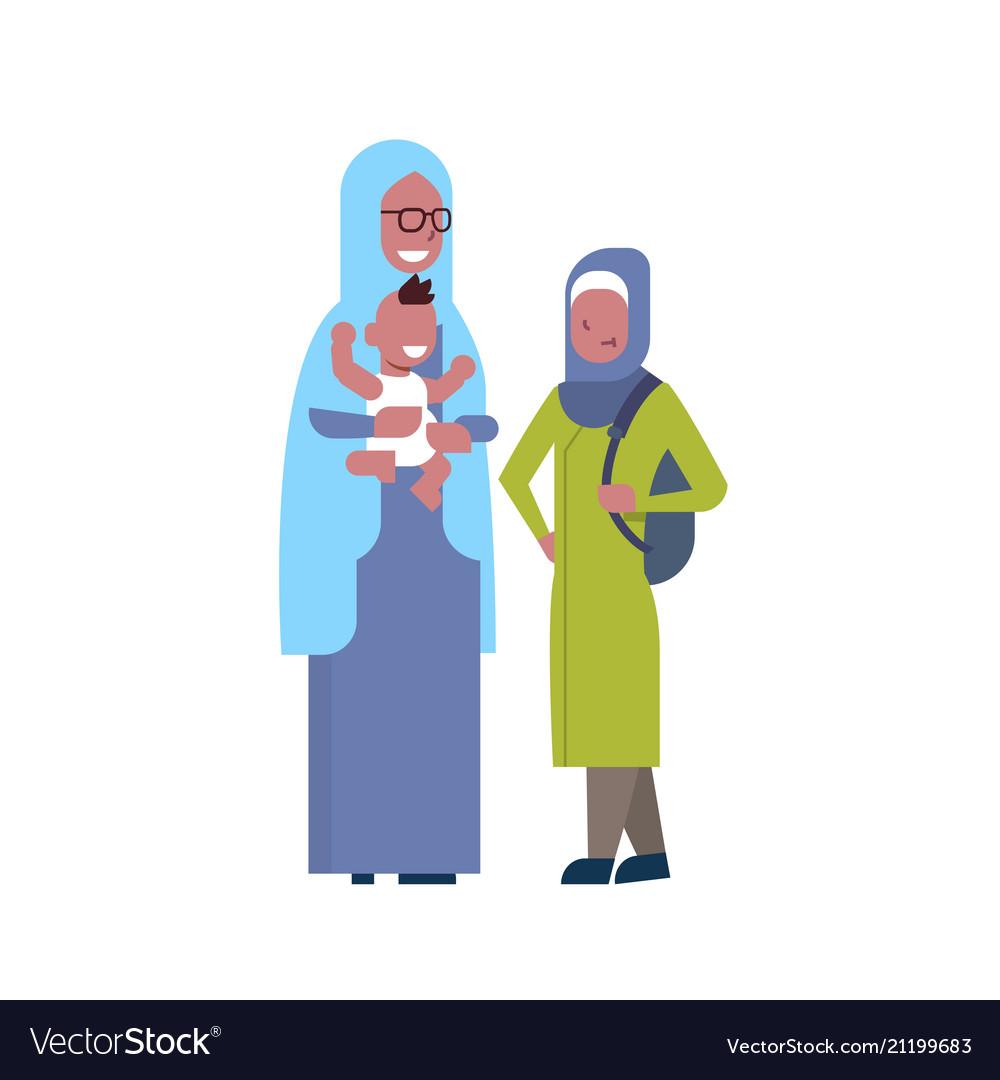 Arabic grandmother with grandchildren multi