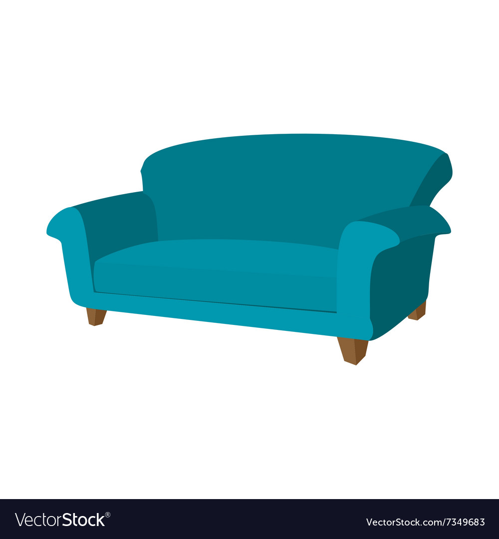 Blue Sofa Cartoon Icon Royalty Free Vector Image
