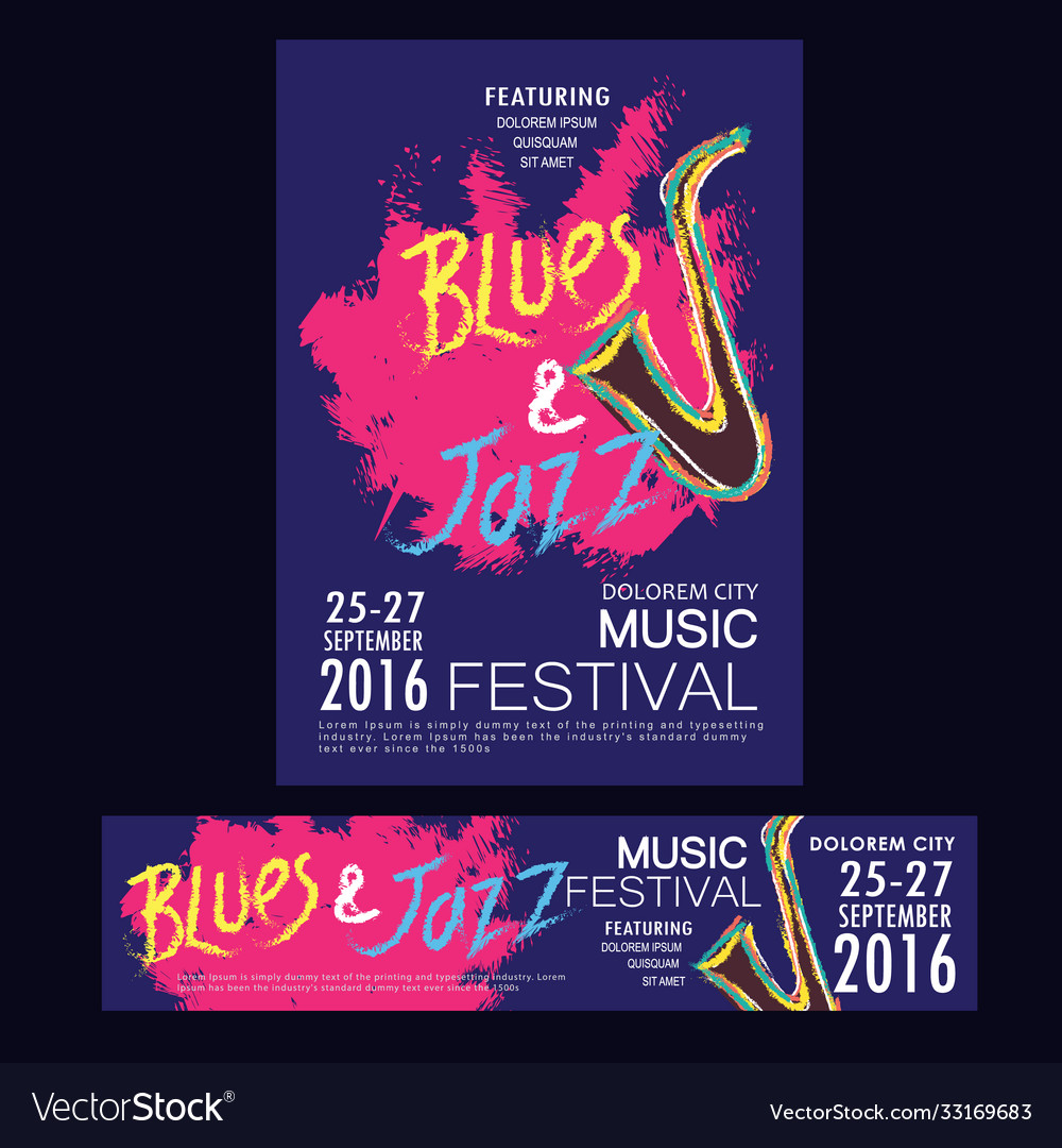 Blues and jazz festival poster brochure and
