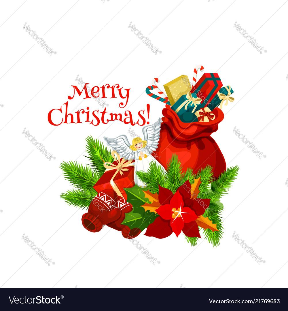 Christmas santa gifts bag greeting icon