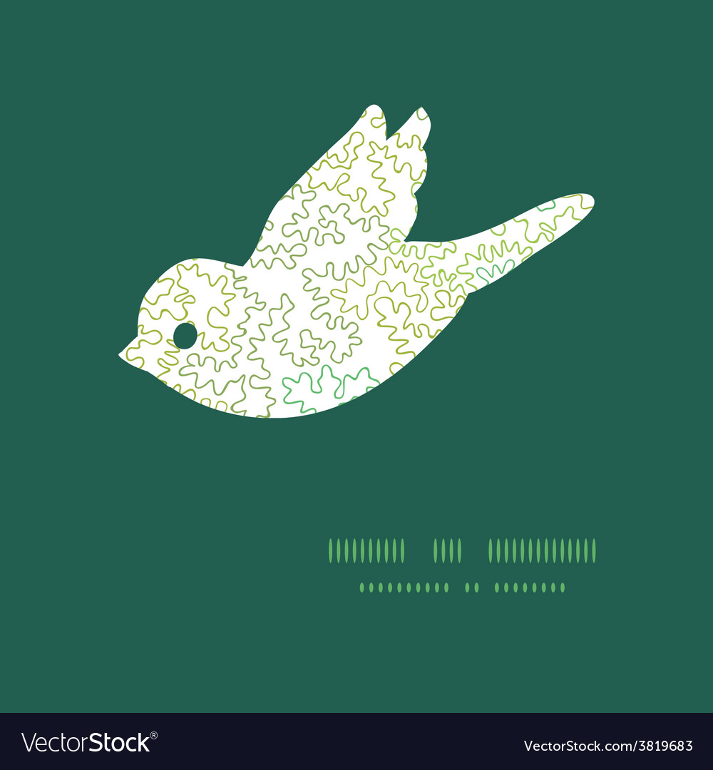 Curly doodle shapes bird silhouette pattern vector image