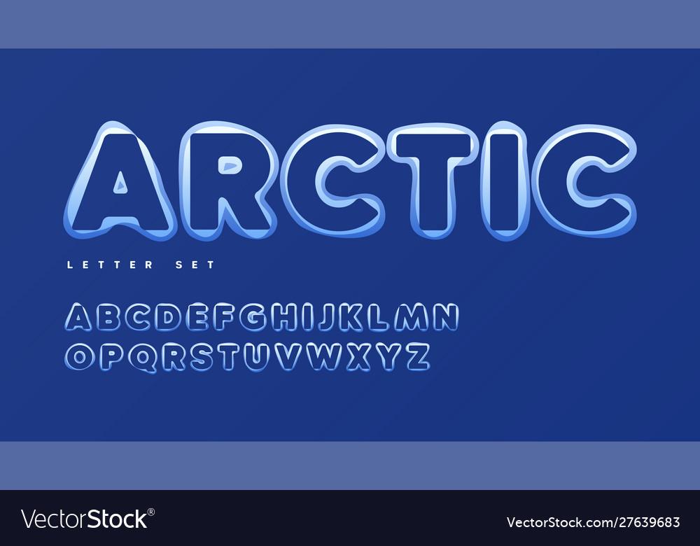 Funny snowy alphabet uppercase letter set